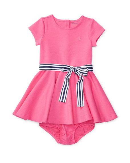 Ralph Lauren Childrenswear Cap-Sleeve Ponte Circle Dress w/