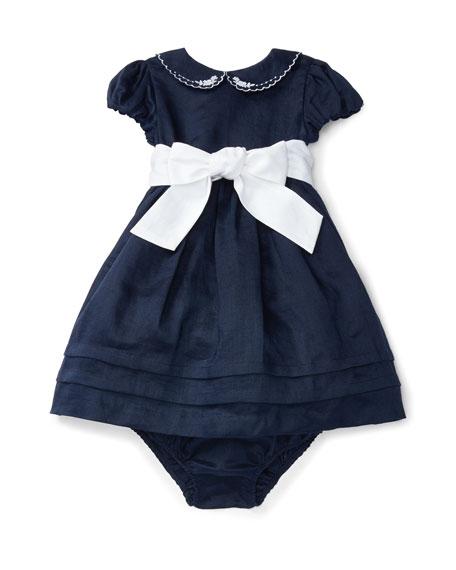 Ralph Lauren Childrenswear Cap-Sleeve Fit-and-Flare Ramie Dress