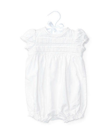 Ralph Lauren Childrenswear Pintucked Linen-Blend Bubble Shortall,