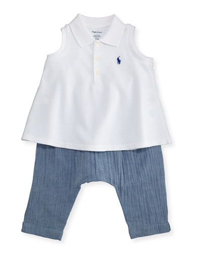 Sleeveless Polo Shirt w/ Chambray Pants, White, Size 6-24 Months