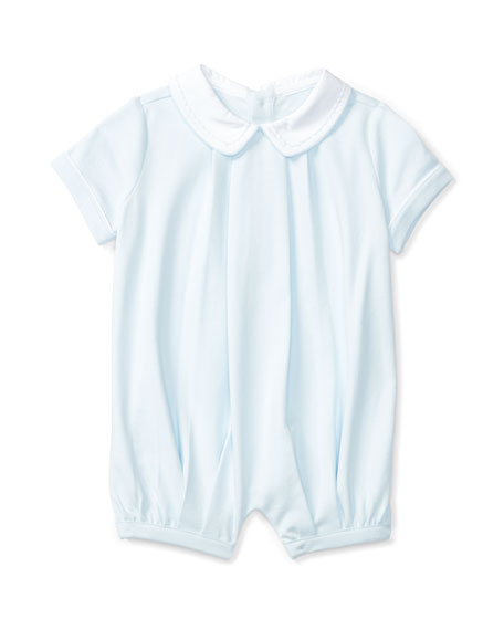 Pleated Pima Jersey Shortall, Blue, Size 3-18 Months