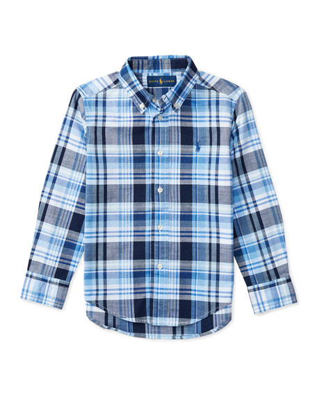 Ralph Lauren Childrenswear Long-Sleeve Plaid Sport Shirt, Blue,