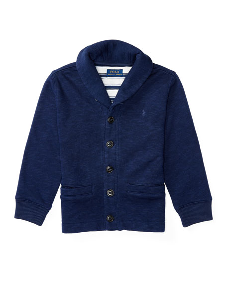 Ralph Lauren Childrenswear Melange Fleece Shawl-Collar Cardigan,
