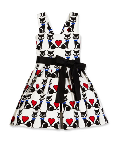 Sleeveless Pleated Fit-and-Flare Kitty Dress, Black/White, Size 7-14