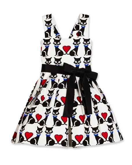 Helena Sleeveless Pleated Fit-and-Flare Kitty Dress, Black/White,