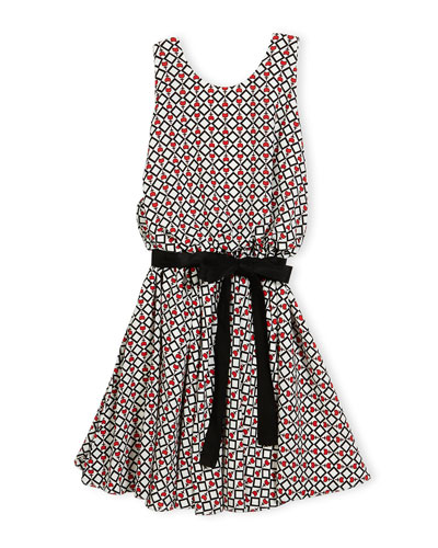 Sleeveless Belted Tulip Circle Dress, Multicolor, Size 7-14