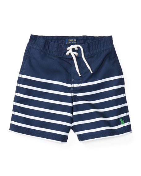 Ralph Lauren Childrenswear Striped Tie-Front Board Shorts, Blue,