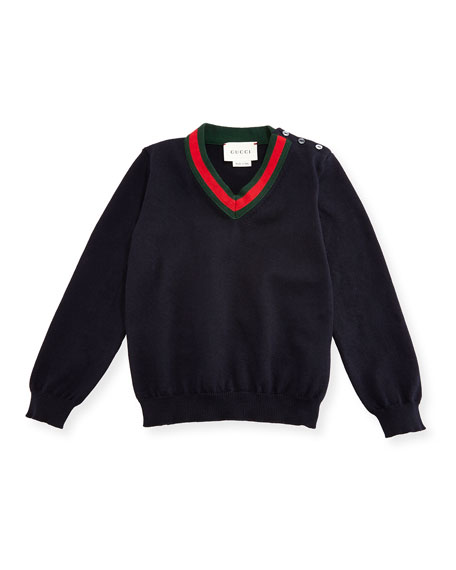 Gucci Cotton V-Neck Pullover Sweater, Navy, Size 6-24