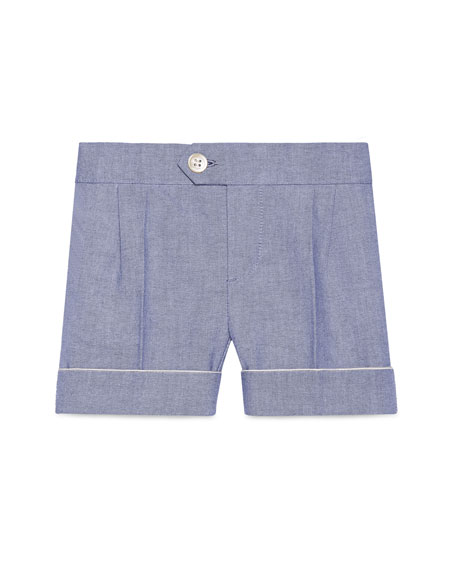Gucci Cotton Oxford Suit Shorts, Light Blue, Size