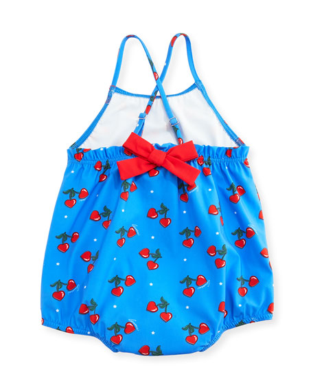 Heart Cherries One-Piece Cross-Back Swimsuit, Blue, Size 9-36 Months