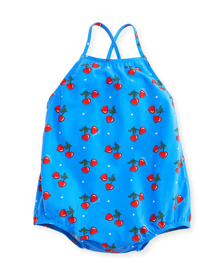 Gucci Heart Cherries One-Piece Cross-Back Swimsuit, Blue, Size