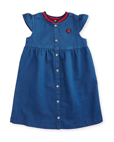 Snap-Front Jersey Denim Dress, Blue, Size 6-36 Months