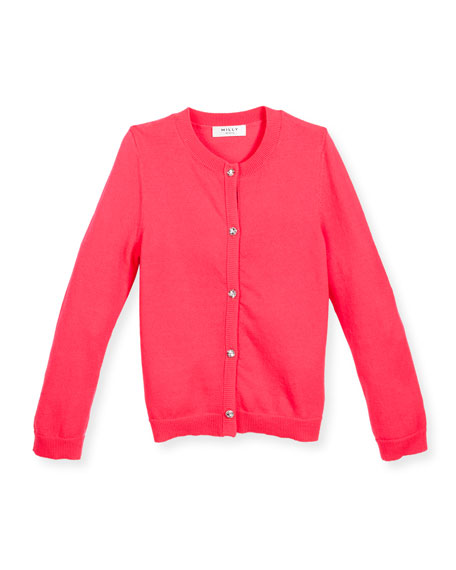 Milly Minis Soft Button-Front Cardigan, Pink