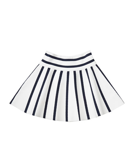 Striped Fit-and-Flare Skirt, Blue/White, Size 8-14