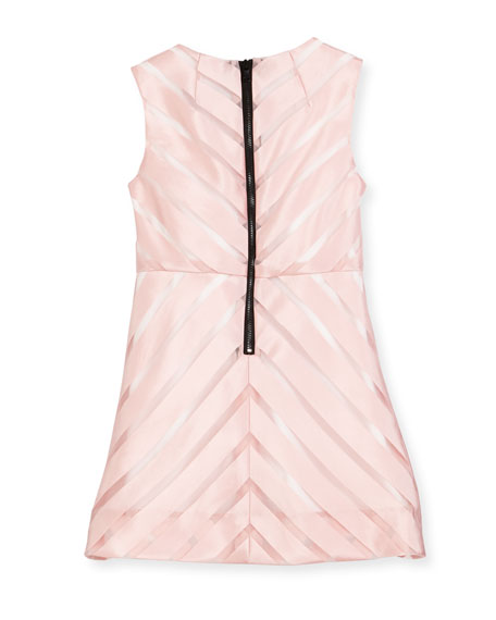 Sleeveless Mitered Stripe Shift Dress, Pink, Size 8-14