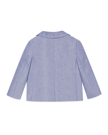 Cotton Oxford Suit Jacket, Light Blue, Size 12-36 Months