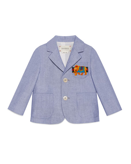 Gucci Cotton Oxford Suit Jacket, Light Blue, Size