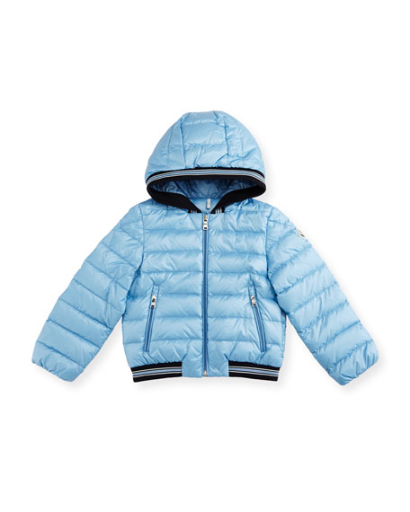 Moncler Goustan Hooded Striped-Trim Puffer Jacket, Light Blue,