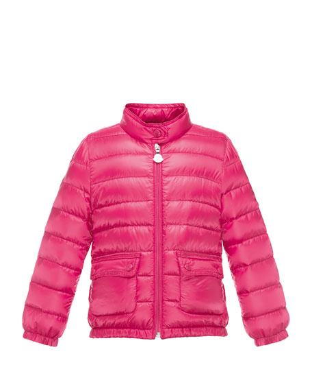 Moncler Lans Flap-Pocket Lightweight Down Puffer Jacket, Fuchsia,