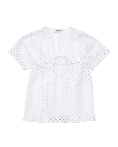 Short-Sleeve Netted Swim Coverup, White, Size 8-14