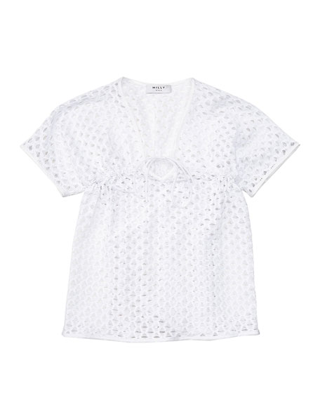 Milly Minis Short-Sleeve Netted Swim Coverup, White, Size