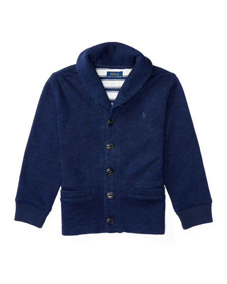 Ralph Lauren Childrenswear Fleece Shawl-Collar Cardigan, Blue,