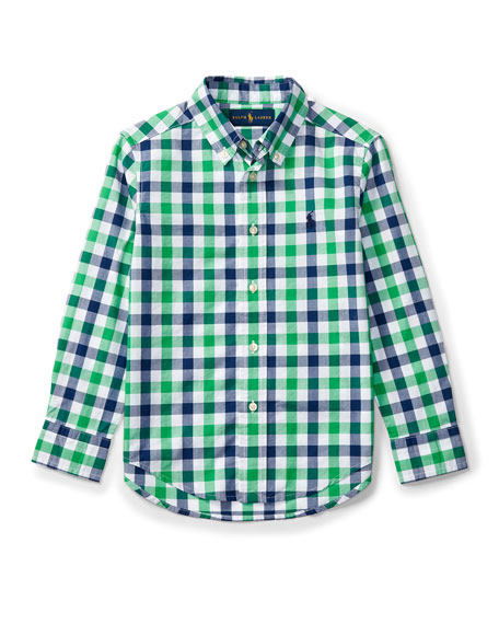 Ralph Lauren Childrenswear Long-Sleeve Check Sport Shirt, Green,