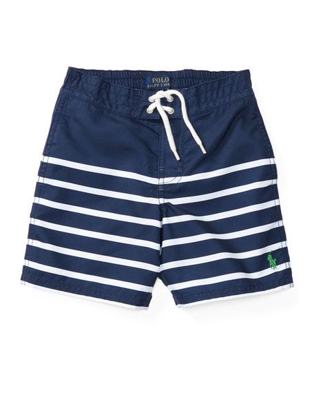 Ralph Lauren Childrenswear Striped Board Shorts, Blue/White,