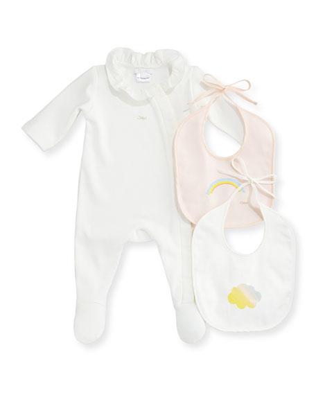 Chloe Footie Pajama and Bib Set, Size 3-9