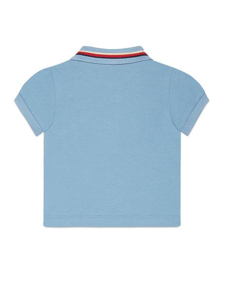 Sylvie Web Stretch Pique Polo Shirt, Blue/Red, Size 4T