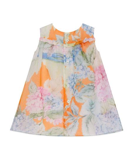Sleeveless Silk Chiffon Hydrangea Shift Dress, Multicolor, Size 18-36 Months
