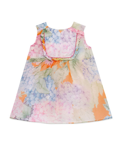 Gucci Sleeveless Silk Chiffon Hydrangea Shift Dress, Multicolor,