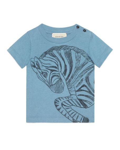 Gucci Short-Sleeve Zebra Jersey Tee, Light Blue, Size