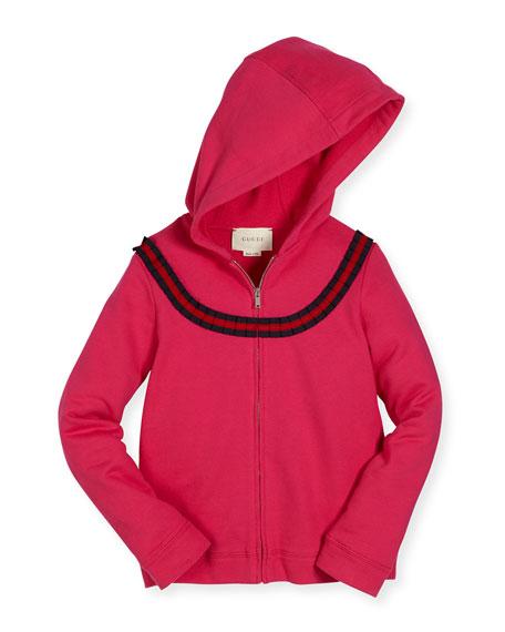 Gucci Hooded Felted Jersey Sweatshirt, Blue, Size 9-36