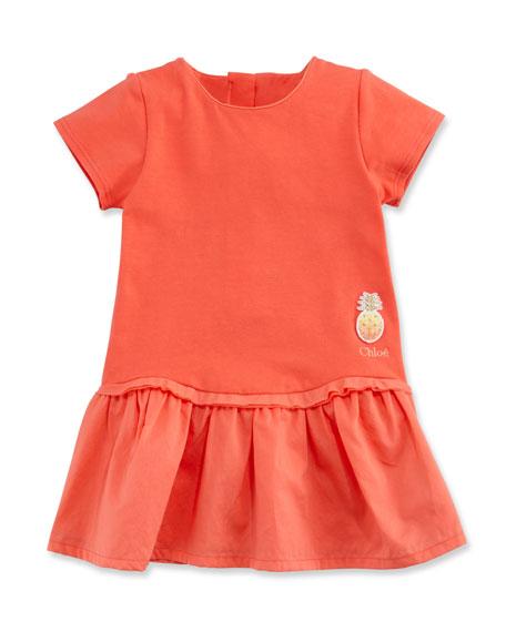 Chloe Short-Sleeve Poplin & Jersey Dress, Pink, Size