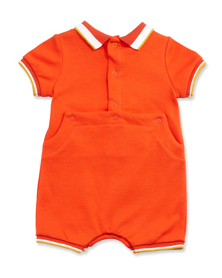 Image 2 of 2: Tipped Trompe l'Oeil Jersey Shortall, Orange, Size 3-12 Months