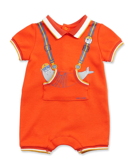Image 1 of 2: Tipped Trompe l'Oeil Jersey Shortall, Orange, Size 3-12 Months