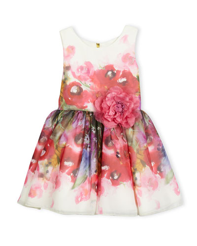 Sleeveless Smocked Floral Chiffon Dress, Pink, Size 7-16