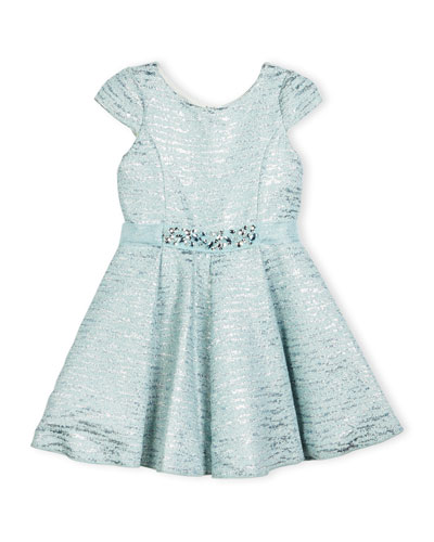 Cap-Sleeve Metallic Brocade Fit-and-Flare Dress, Blue, Size 7-16