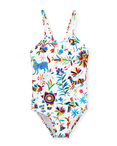 Folkloric One-Piece Swimsuit, White Pattern, Size 4-7