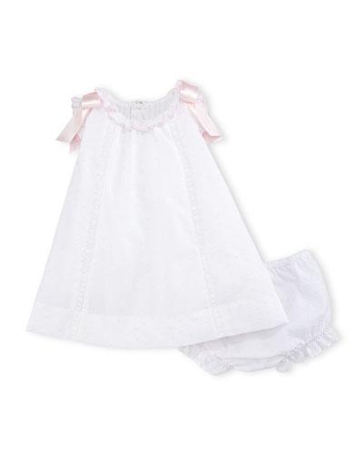 Bow-Trim Swiss Dot Dress w/ Bloomers, White, Size 3-24 Months