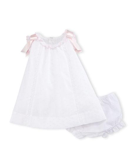 Luli & Me Bow-Trim Swiss Dot Dress w/