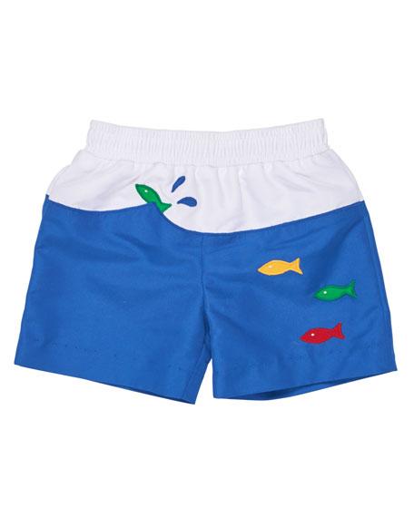 Florence Eiseman Colorblock Fish Swim Trunks, Blue, Size