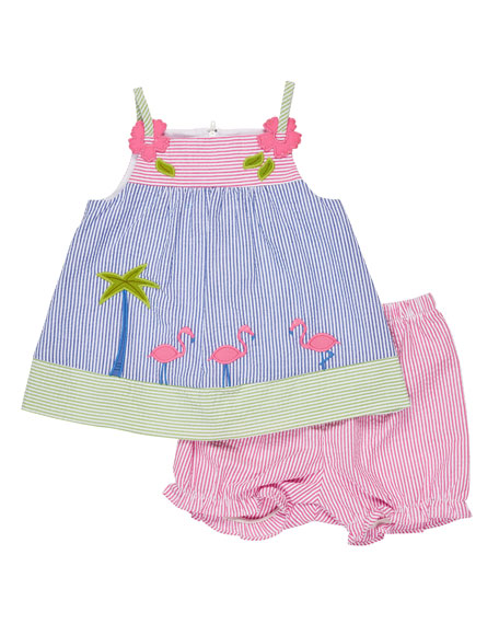 Florence Eiseman Sleeveless Striped Seersucker Flamingo Dress w/