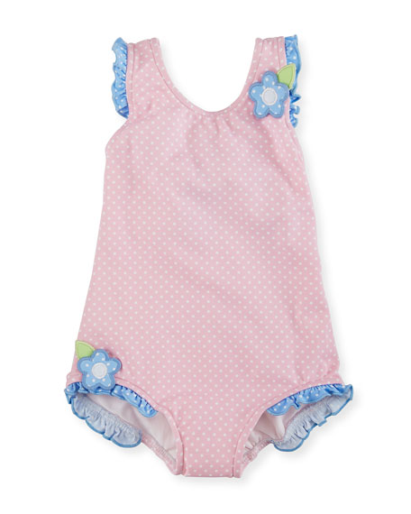 Florence Eiseman Polka-Dot One-Piece Swimsuit, Pink, Size 6-24