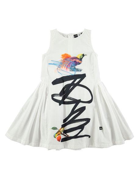 Cassia Graffiti Bird-Print Dress, Sizes 2T/3T-11/12