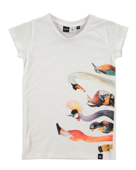Molo Rozalia Bird-Print T-Shirt, Sizes 3-10