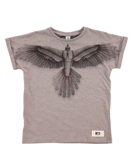 Molo Raphael Bird-Print T-Shirt, Sizes 4-12