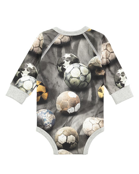Frank Long-Sleeve Soccer Ball Playsuit, Gray, Size 3-12 Months