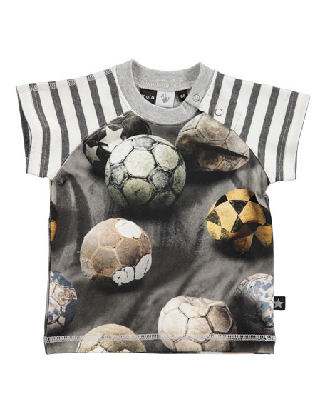 Molo Egon Raglan Soccer Ball Jersey Tee, Gray,